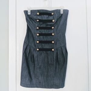 Denim Fitted strapless dress